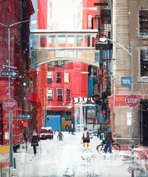 Snow Flakes in Tribeca by Tom Butler - Original Collage on Board sized 20x24 inches. Available from Whitewall Galleries